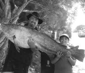 Mark and his son Jai caught this 30kg mulloway at the Carrum Outer Artificial Reef in mid November. It took a pilchard bait meant for a snapper (photo: Trevor and Lynette Hogan).