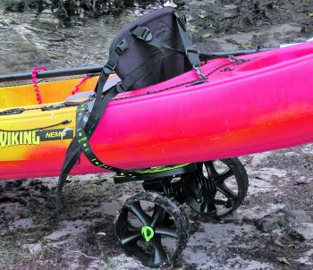 A trolley (A) makes it easy to transport your kayak to and from the water, especially when the kayak is rigged with gear.