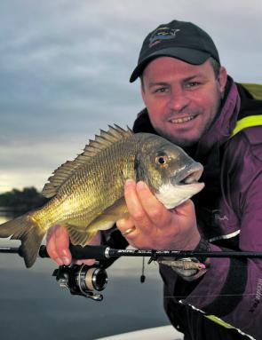 The author with 34cm bream that crunched a surface lure.
