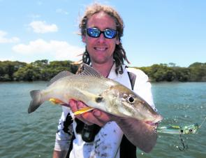 The author with a tidy whiting that took a liking to a surface popper.