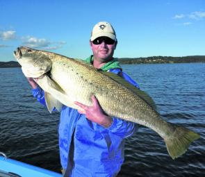 The sort of by-catch everyone loves: Scott Dennett managed this nice jewie on 6lb braid and 20lb leader while jigging for flathead in Lake Macquarie.