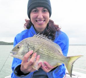 Caroline Scerri with her first bream on a lure. This Lake Mac beauty was just on 40cm long.