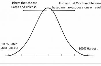 Those who practice catch and release as a conscious act are to the left, those that practice it as a legal requirement to the right.