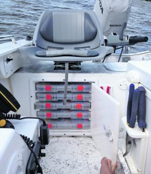 Underneath he skipper's and first mate's seat is a recessed tackle tray storage area. This allows everyone to bring their own tackle and have their own place to find just what they need.