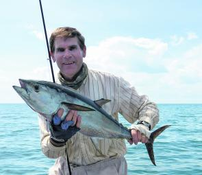 The author with a decent fly-caught longtail tuna.