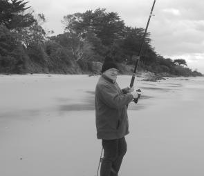 At Andersons Inlet there are opportunities to target King George whiting from the shore. Here Lou Weiss tries his luck.