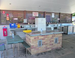 The well equipped community cooking area.