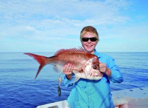 Tommy Wood with a snapper caught offshore, these fish should still be around for the next month or so.