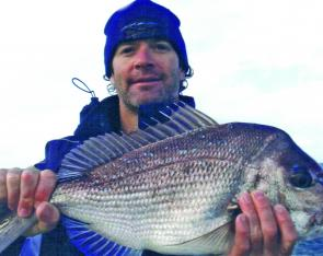 Gary Patterson with a run-of-the-mill snapper. Plenty of fish of this size are around in a variety of depths.