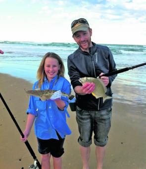 Caitlyn Byron and uncle Pete with bag of bream and flathead. Mixed bags have been common from the beaches.