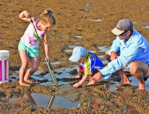 Getting the kids involved in gathering the bait can be just as much fun as fishing itself.