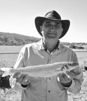 Author John Dalla-Rosa with a rod-thumping whiting caught off Flinders. February is a great time to target these tasty, hard-fighting fish.