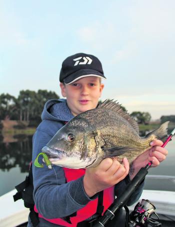 Xavier Gercovich with a 44cm Hopkins bream he caught on a soft plastic.