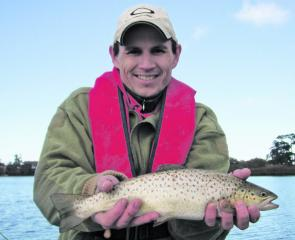 Malcolm Stevens caught this fat brown trout at Lake Wendouree.