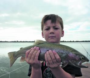 Zac Stevens caught this fat rainbow trout on Powerbait in Lake Wendouree.