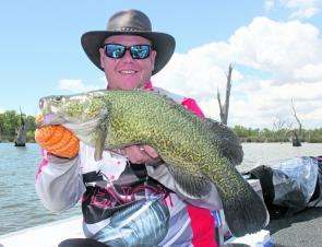 Shane Banks with a 61cm Murray cod caught up in the Bundalong area.
