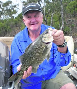 Dave McLean with a bass that fell to a Bassman spinnerbait pattern 42 in around cover.