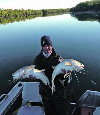 Chilly weather in Mackay did not stop Clinton Hassan scoring these two threadies on live prawns worked along the sloping bank in the background.