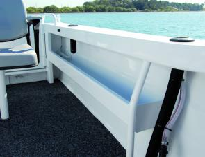The side pocket to port is of generous size and contributes greatly to storage within this neat fishing craft.