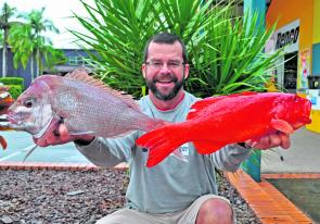 Ian Tagg doesn't miss out too often. Here he is with a snapper and trout from Sunshine Reef caught on plastics.