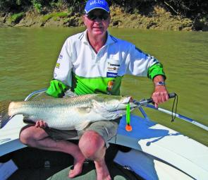 Oar-Gee have been a long time sponsor of the Barra Classic, which Wayne enjoys fishing. This 95cm Daly River barra was trolled on a Oarsome 130 Lure.