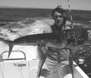 Benny Job with a good size Dolphin fish trolled up on the 40fm line east of the Tweed Bar.