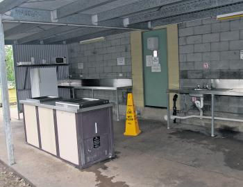 A camp kitchen with electric BBQs is available for use by campers.