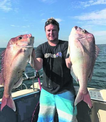Good numbers of quality snapper up to 8kg have been keeping anglers busy off Mornington during the last month. Ryan Knights is happy with his lovely brace of Mornington reds. Photo courtesy of Mark Keaveny.