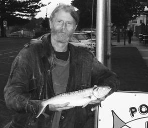Don Elshoff with a nice salmon he caught off Bishops Rocks.