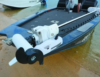 For added bling, the test boat had a MinnKota Ulterra up front. Self-deploying, they're currently the top of the line on servo-driven trolling motors.