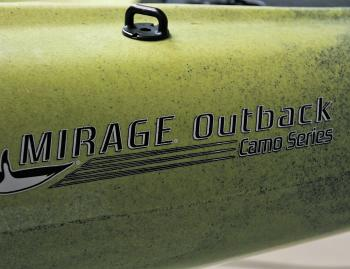 The Hobie Mirage Outback Camo Series includes several upgrades over the standard kayak including the striking camo colour.