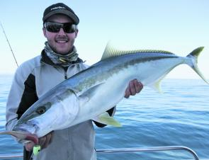 Kris George from Fishin Bits in Toowoomba bagged this solid kingfish on board RU4REEL Charters.