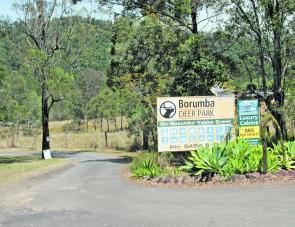 The sign welcoming visitors to the Borumba Deer Park is on the left about 2km from Borumba Dam.