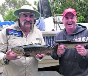 Aussie cricket legend Merv Hughes and Fishin Trip host Jason Kennedy with a couple of Toolondo fish.