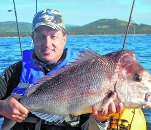 Mal Mcleod with a few nice fillets worth of snapper from the kayak.