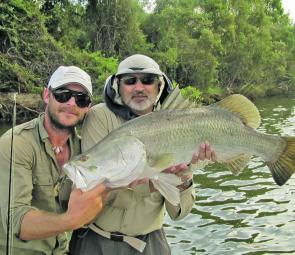 A good-sized barra caught luring the green water.