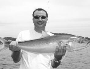 Steve Hoskins with an 86cm kingfish that ate a 30cm live squid.