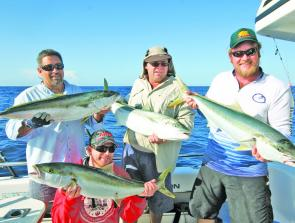 The result of a quadruple hook-up on kingies on board RU4REEL Charters