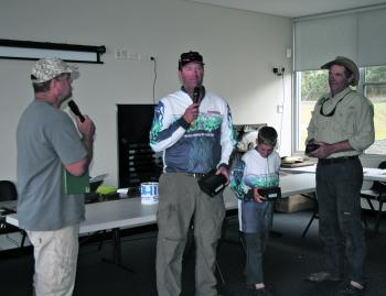 Australian Yellowbelly Championships winners Paul Simpson, Heath and Charlie Grills from team Ecogear.