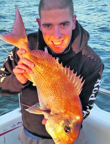 Phil Jordan snared this fine snapper on a soft plastic in 10m of water at Altona.