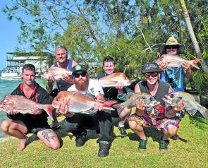Stuart, Kirsty-Jean, Jason, Wade, Mark and Jack with snapper and pearl perch from Saturday's Cougar One charter to the Barwon Banks.