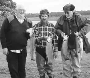 John Smeaton, Rod McMaster and Ralph Dorrington of the Lakeside Anglers Club with a fine catch of brown trout from Tullaroop Reservoir