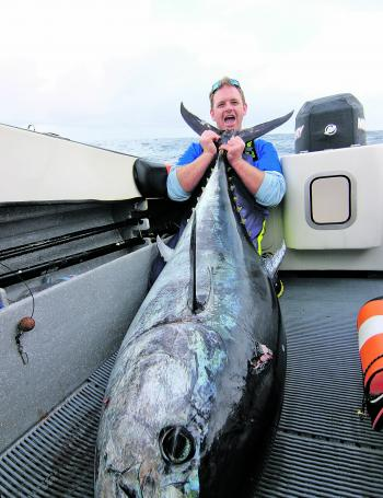 The author with a jumbo tuna from Portland. Tuna like this require specialised tactics.