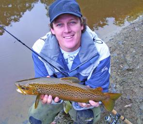 This fit brown trout was caught from the muddy banks of the West Barwon Reservoir after the water levels had dropped dramatically.