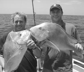 Ed Falconer and Scott Hillier from Channel Seven's Queensland Weekender with a nice snapper and red.