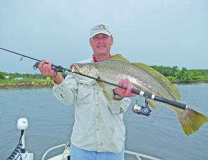 "Chris Blanch took this nice mulloway on a Berkley 6"" Sandworm on a 1/8oz jig head fished deep at Dennis Bridge."