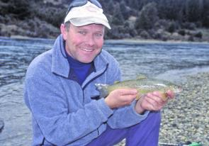 Fast water basics work anywhere, here the author holding a New Zealand brown.