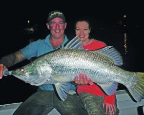 Christian and Brianna Webb caught and released this beauty using live mullet as bait.