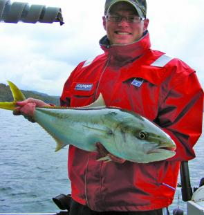 Brad with a wonderful 86cm kingfish that brightened up a very average day.
