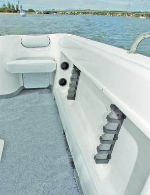 More boats should have these: The cockpit side pockets have smart rod racks that protect rod tips from damage. Removable rear seat squabs increase fishing room.